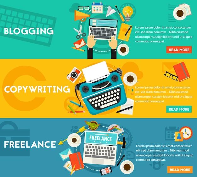 Banery koncepcyjne dotyczące blogów, freelancerów i copywritingu. kompozycja pozioma, ilustracje
