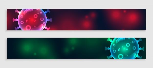 Banery koronawirusa ustawione w dwóch odcieniach kolorów
