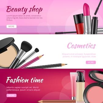 Banery kosmetyczne. reklamy ulotki z produktami kosmetycznymi szminki cienie do powiek lakier do paznokci ołówki ilustracje w proszku