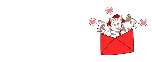 Banery koty wewnątrz list miłosny