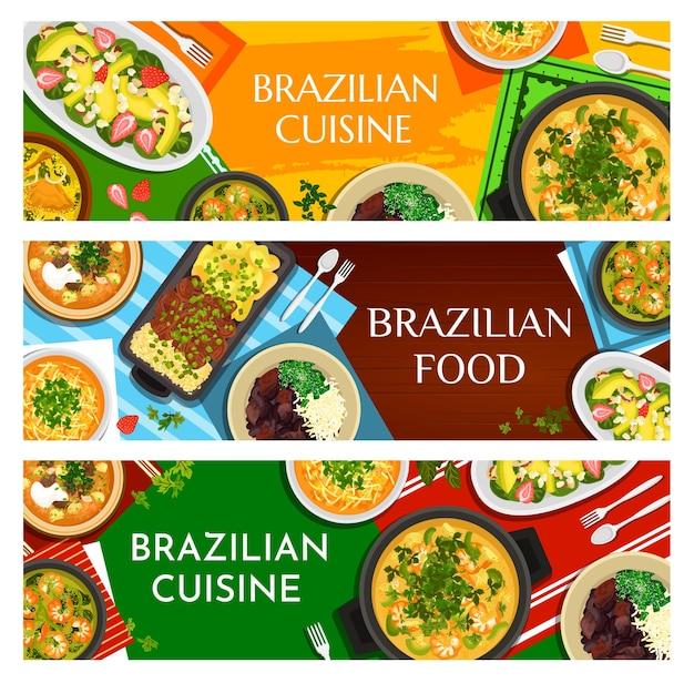 Banery kreskówka brazylijskie jedzenie