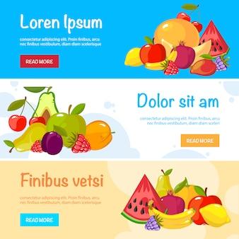 Banery kreskówka owoce. kolorowa kolekcja świeżej żywności