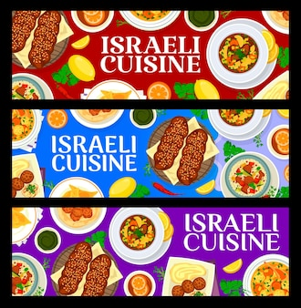 Banery kuchni izraelskiej z żydowskim jedzeniem w restauracji, daniami mięsnymi i warzywnymi. falafele z ciecierzycy, zupa z kłębków macy i kuskus jagnięcy, słodka chałka z chleba, kreplach knedle wołowe, ciasta drobiowe