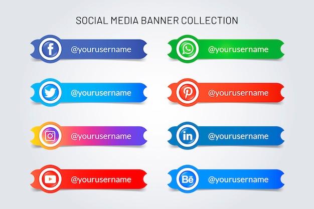 Banery logo mediów społecznościowych