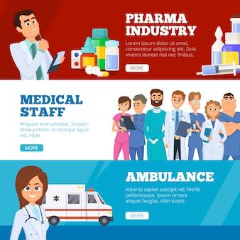 Banery medyczne. lekarze pogotowie i przemysł farmaceutyczny leki płaskie banery internetowe