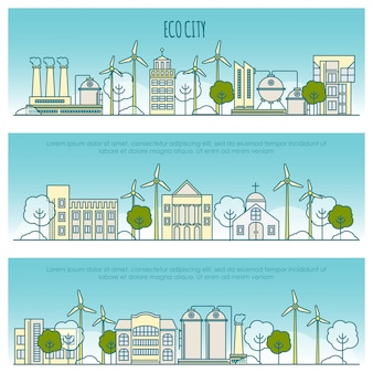 Banery miasta ekologia. szablon z ikonami cienkich linii technologii ekologicznej, trwałości środowiska lokalnego