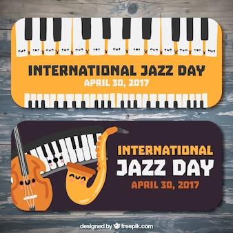Banery międzynarodowego dnia jazzu z instrumentami muzycznymi