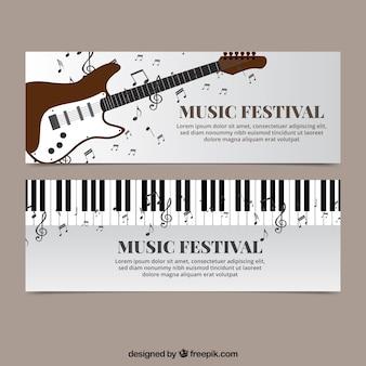 Banery muzyczne z fortepianem i gitarą elektryczną
