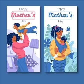 Banery na dzień matki w płaskiej konstrukcji