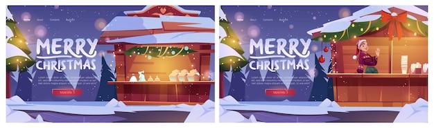 Banery na jarmark bożonarodzeniowy z straganami jodłowymi i śniegiem na ulicy