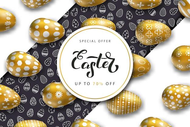 Banery na wielkanoc ze złotymi jajkami. koncepcja wesołych świąt.