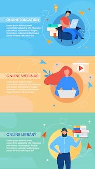 Banery nagłówka edukacji online ustawione w przestrzeni kolorów