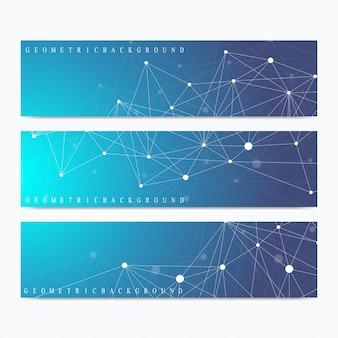 Banery naukowe. geometryczna prezentacja abstrakcyjna. cząsteczka medyczna, naukowa, technologiczna, chemiczna i komunikacja. cybernetyczne kropki. splot linii.