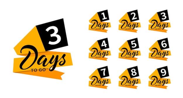 Banery odliczania. został jeden, dwa, trzy, cztery, pięć, sześć, siedem, osiem, dziewięć dni. policz sprzedaż na czas. płaskie odznaki, naklejki, przywieszka, etykieta. numer 1, 2, 3, 4, 5, 6, 7, 8, 9 pozostałych dni.