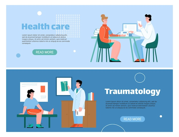 Banery opieki zdrowotnej z pacjentami i lekarzami płaska ilustracja kreskówka