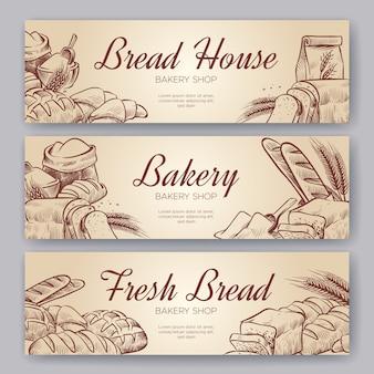 Banery piekarnicze. ręcznie rysowane gotowanie chleb piekarnia bajgiel pieczywo ciasto żyto piec do pieczenia pumpernikiel kulinarny zestaw banner