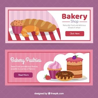 Banery piekarnicze z słodycze w stylu płaski