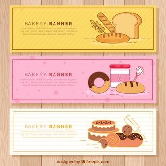Banery piekarnicze ze słodyczami i chlebem