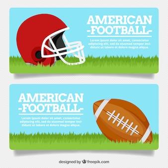Banery piłkarskie z kaskiem i piłka