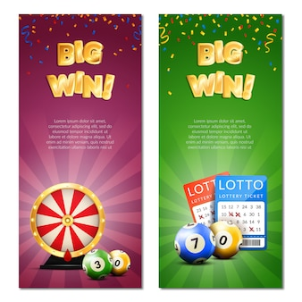 Banery pionowe loterii bingo