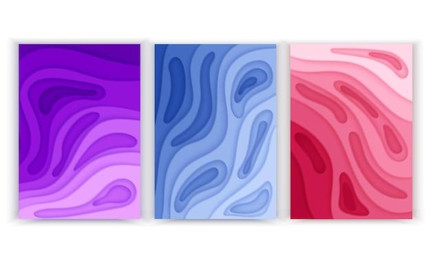 Banery pionowe w formacie a4 z abstrakcyjnym tłem 3d i wyciętymi z papieru kształtami