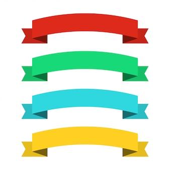 Banery płaskie wstążki. wstążki w płaskiej konstrukcji. wektor zestaw kolorowych wstążek