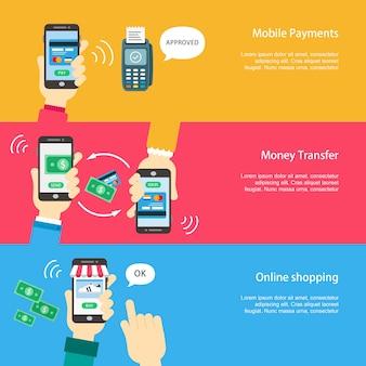 Banery płatności mobilnych ustawione w stylu płaskiej konstrukcji