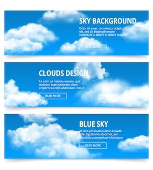 Banery pochmurnego nieba. realistyczne chmury pogoda kondensacja niebieski szablon po południu z miejscem na tekst
