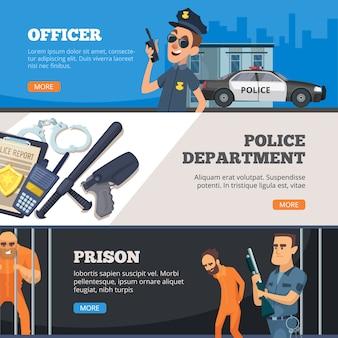 Banery policyjne. funkcjonariusz policji bezpieczeństwa miejskiego stojący w jednolitym więzieniu i nadzorca z kolekcją projektów broni