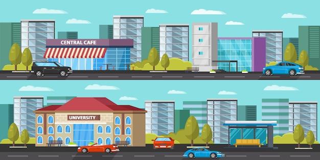 Banery poziome miejskiego krajobrazu