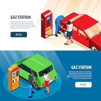 Banery poziome stacji benzynowych ze stanowiskami do tankowania i pracownikami tankującymi paliwo do samochodu