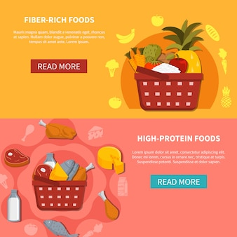 Banery poziome żywności supermarket