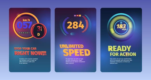 Banery prędkości. samochody wyścigowe abstrakcyjne ilustracje z prędkościomierzami i tablicą wskaźników paliwa