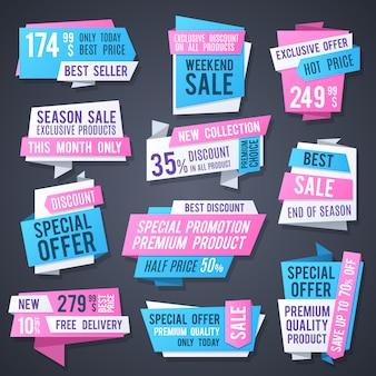 Banery promocyjne origami, najlepsze metki i reklamuj przyciski kolekcji wektorowej. naklejki z rabatem, ceną i odznaką oferują specjalną ilustrację
