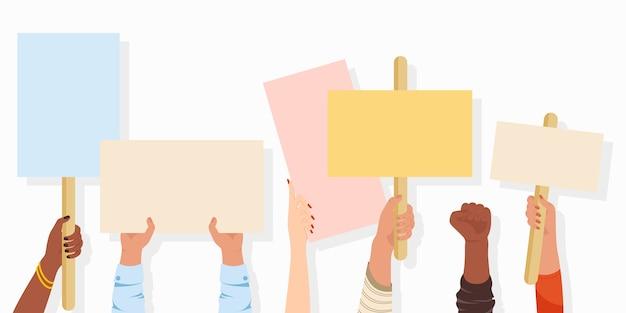 Banery protestacyjne. tablica ze znakiem manifestacji trzymana w dłoni, plakat protestu pokojowego i puste tabliczki głosowania. strajk, rewolucja, tło konfliktu.