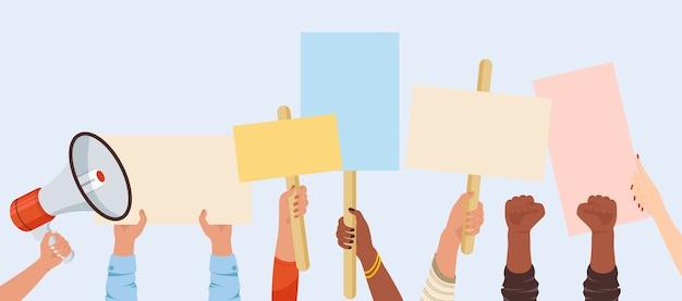 Banery protestacyjne. tabliczka znak manifestacji trzymać w dłoni. ludzie przeciwko przemocy, zanieczyszczeniom, dyskryminacji, łamaniu praw człowieka.