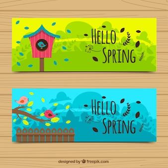 Banery ptaków i powiew wiosny