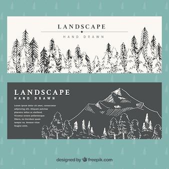 Banery ręcznie rysowane krajobrazu