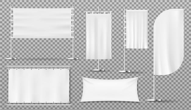 Banery reklamowe, flagi, puste białe szablony