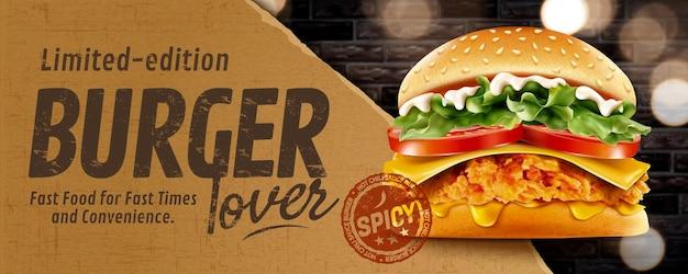 Banery reklamowe z burgerem smażonego kurczaka na ścianie z cegły z brokatem na ilustracji 3d