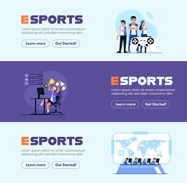 Banery reklamowe zapraszające drużyny e-sportowe do czania się w corocznym dużym turnieju trofea i nagrody pieniężne czekają na sportowców e-sportowych, jeśli są w stanie wygrać z przeciwną drużyną