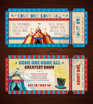 Banery retro bilety cyrkowe zestaw