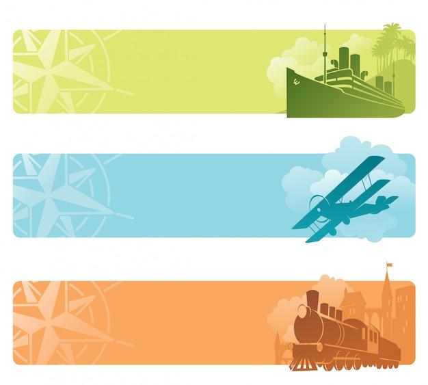 Banery retro transportu. ilustracja.