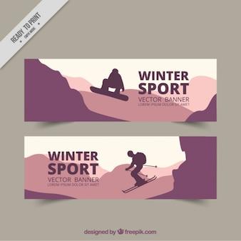 Banery sportów zimowych w odcieniach fioletu