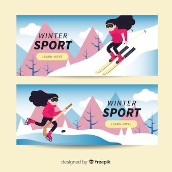 Banery sportów zimowych