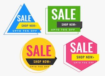 Banery sprzedaż kształt geometryczny w wielu kolorach
