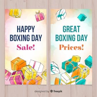 Banery sprzedaż boks dzień akwarela