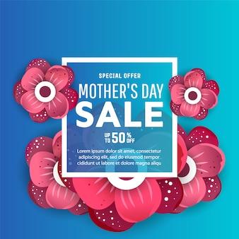 Banery sprzedaż dzień matki z kwiatów i etykiety tekstowe.