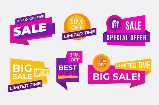 Banery sprzedaż geometryczna wstążka w kolorach fioletowym i żółtym