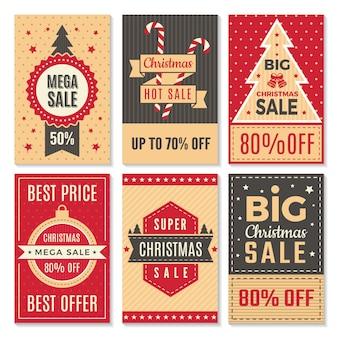 Banery sprzedaż świąteczna. nowy rok specjalne oferty i rabaty oferty etykiety kupon szablon